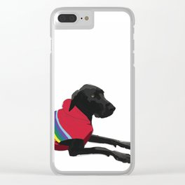 Black Great Dane with a sweater Clear iPhone Case