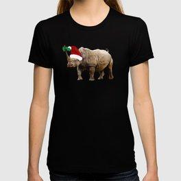 Christmas Rhino Santa Hat T-shirt