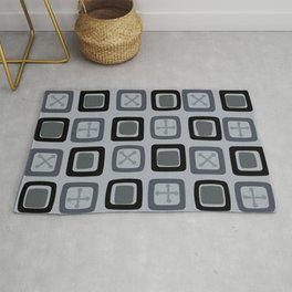 Mid Century Modern Squares Lines Slate Gray Black Rug