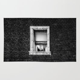 Brick Wall, Window, Torn Curtains in Los Angeles Rug