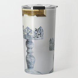 grey iron carved candlesticks Travel Mug