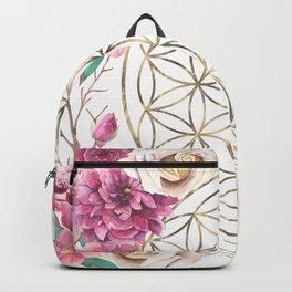 Flower of Life Rose Garden Gold Backpack