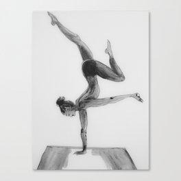 Yoga Girl, Yoga Illustration Print, Black White Home Decor, Girls Room Decor Canvas Print