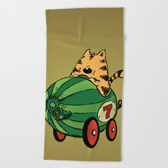Albert and his watermelon ride Beach Towel