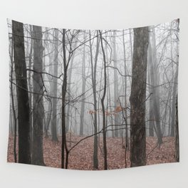 Woods on a Foggy Sunday Stroll Wall Tapestry