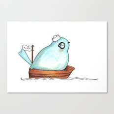 Blue bird out at sea watercolor ink illustration Canvas Print