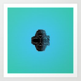 fractal black skull portrait with blue abstract background Art Print