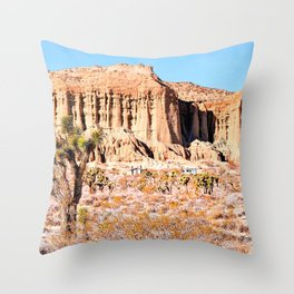 Cactus in the desert with blue sky Throw Pillow