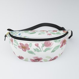 watercolor flower american flag Fanny Pack