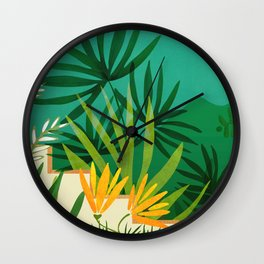 Exotic Garden Nightscape / Tropical Night Series #2 Wall Clock