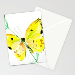 Yellow Butterfly, children butterfly decor kids room, girls room yellow decor butterfly art Stationery Cards