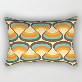 Wavy Turquoise Orange and Brown Retro Lines Rectangular Pillow
