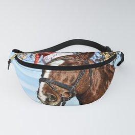 Horse Wearing Santa Hat Fanny Pack