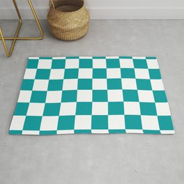 Blue, Teal: Checkered Pattern Rug