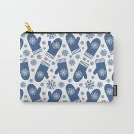 Wintery Blue Snowflake Mittens Carry-All Pouch