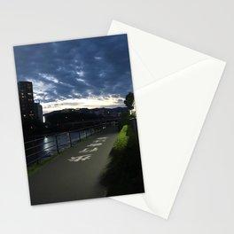 Sunset over a Japanese city Stationery Cards