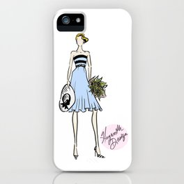 """Hayworth Design Fashion Illustration """"Fashionable Girl in Blue Dress with Sunflowers"""" iPhone Case"""
