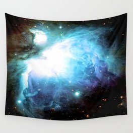Orion Nebula Aqua Periwinkle Gold Wall Tapestry