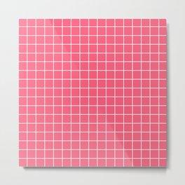Brink pink - pink color - White Lines Grid Pattern Metal Print