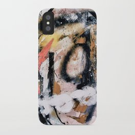 Lightning Soul: a vibrant colorful abstract acrylic, ink, and spray paint in gold, black, pink iPhone Case