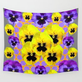 YELLOW & PURPLE SPRING PANSIES ART Wall Tapestry