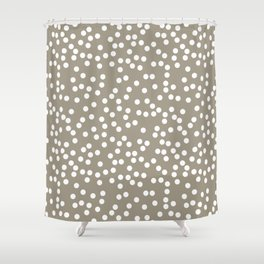Dark Warm Gray and White Polka Dot Pattern Shower Curtain