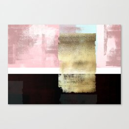Minimal Abstract Soft Pink Landscape with Gold Canvas Print