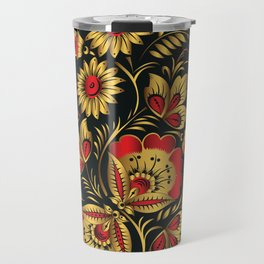 Golden russian folk Travel Mug
