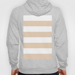 Wide Horizontal Stripes - White and Pastel Brown Hoody