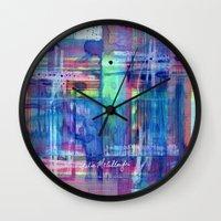 plaid Wall Clocks featuring Plaid by Julie M Studios