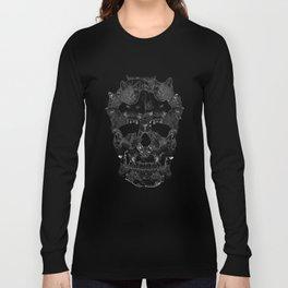 Sketchy Cat skull Long Sleeve T-shirt