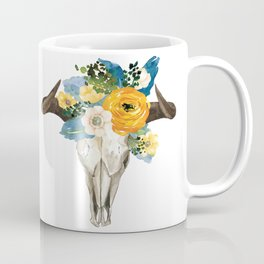 Bohemian bull skull and antlers with flowers Coffee Mug
