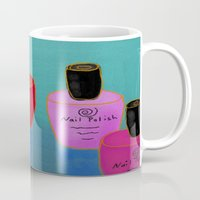 nail polish Mugs featuring Nail Polish Bottles Abstract Digital Painting  by Jackie Ludtke