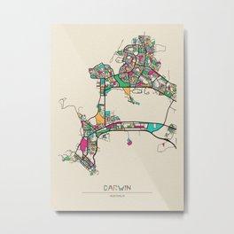Colorful City Maps: Darwin, Australia Metal Print