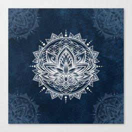Lotus Mandala (white) Canvas Print