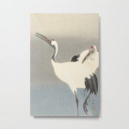 Two Cranes by Ohara Koson Metal Print