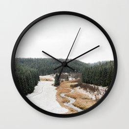 Winter View, Rocher du Bieley, Elsenborn, Wallonia, Belgium - Nature Travel Photography Wall Clock