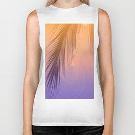 Palm Leaf Silhouette Orange Violet Background #decor #society6 #buyart Biker Tank