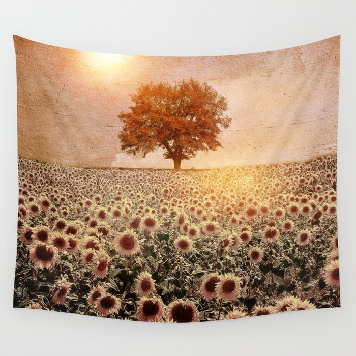 lone tree & sunflowers field (colour option) Wall Tapestry