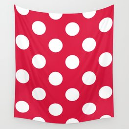 Large Polka Dots - White on Crimson Red Wall Tapestry
