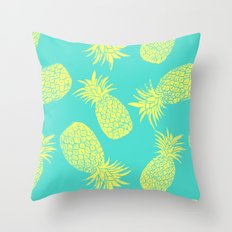 Pineapple Pattern - Turquoise & Lemon Throw Pillow