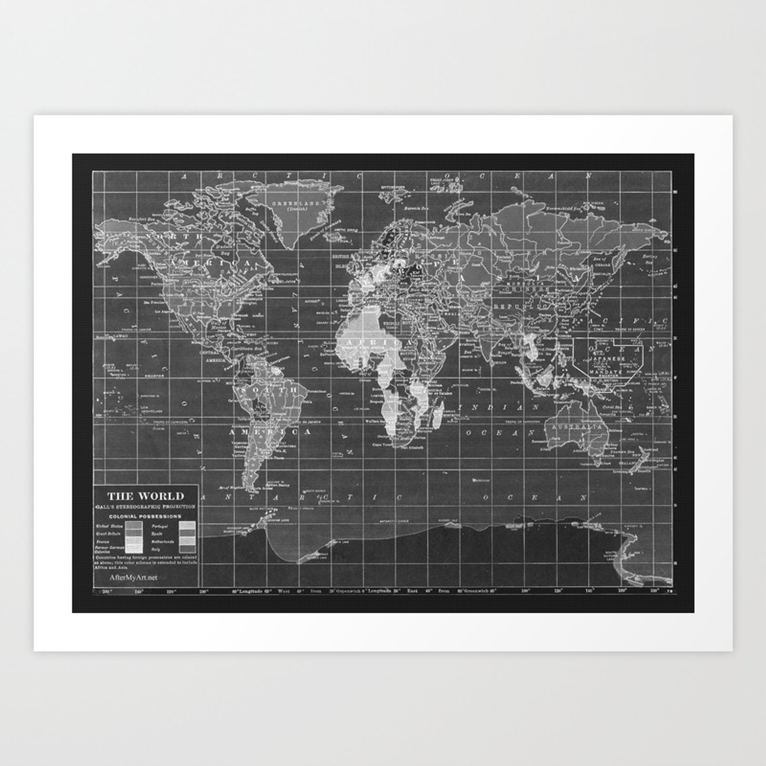 image relating to World Map Printable Black and White named Black and White Basic International Map Artwork Print