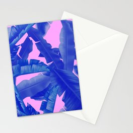 tropical banana leaves pattern,pink,blue Stationery Cards