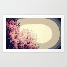 Taupe Pink Mod Trees Art Print