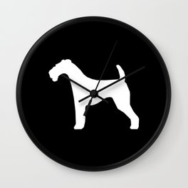 Airedale Terrier black and white minimal dogs dog silhouette art Wall Clock