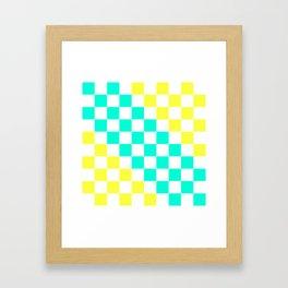 Cheerful Aqua & Yellow Checkerboard Pattern Framed Art Print