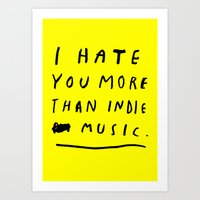 indie Art Prints featuring INDIE MUSIC by WASTED RITA