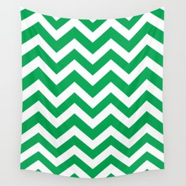 Green (pigment) - green color - Zigzag Chevron Pattern Wall Tapestry