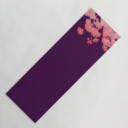 Coral Ginkgo Biloba Leaves Yoga Mat