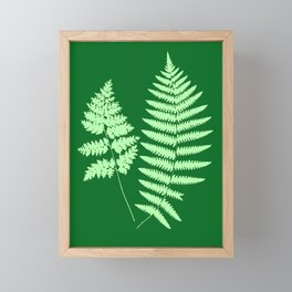Woodland Fern Pattern, Light Green and  Emerald Framed Mini Art Print
